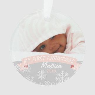 Premier ornement de photo de Noël   de bébé