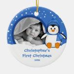 Premier pingouin d'ornement de photo de Noël de