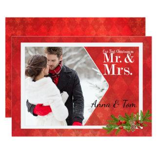 Première carte de Noël de photo de Noël du couple