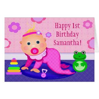 Première carte de voeux d'anniversaire de bébé -