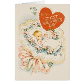 Première carte de voeux de Valentine de bébé