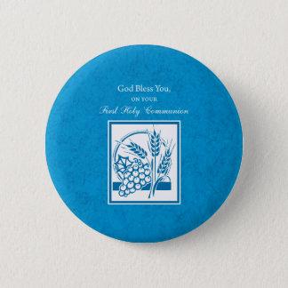 Première communion, blé, raisins bleus badge rond 5 cm