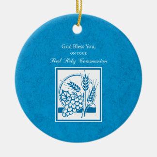 Première communion, blé, raisins bleus ornement rond en céramique