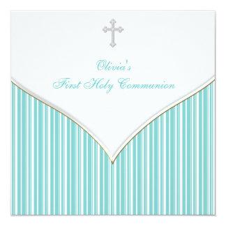 Première communion de bleu turquoise croisé assez carton d'invitation  13,33 cm