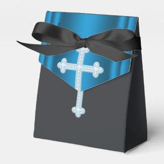 Première communion de croix bleue élégante ballottins pour dragées