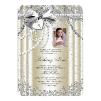 Première communion de perle de photo ene ivoire de carton d'invitation  11,43 cm x 15,87 cm