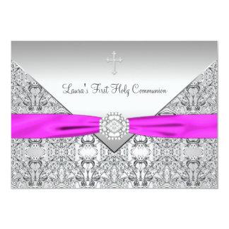 Première communion de rose croisé rose de filles invitations personnalisables