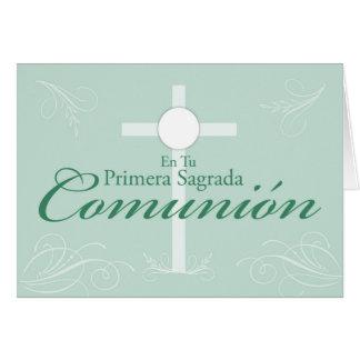 Première communion, manuscrit espagnol sur le vert carte de vœux