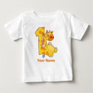 Première coutume d'anniversaire de girafe t-shirt pour bébé