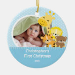 Première girafe d'ornement de photo de Noël de