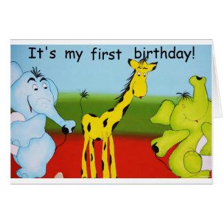 Première invitation d'anniversaire d'enfant carte de vœux