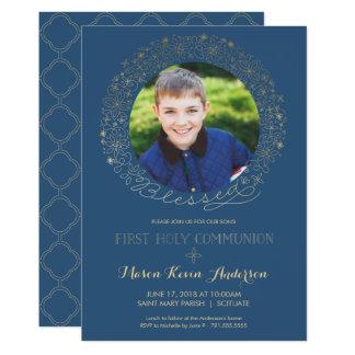 Première invitation de photo de sainte communion,