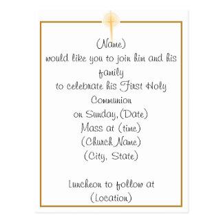 Première invitation de sainte communion cartes postales