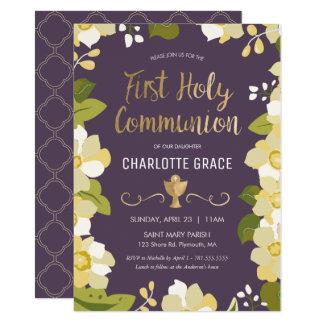 Première invitation de sainte communion, florale