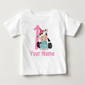 Première vache à rose de fille d'anniversaire t-shirt pour bébé