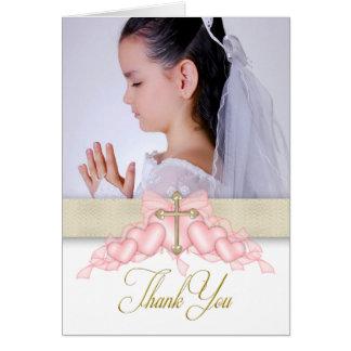 Premières cartes de Merci de communion de photo