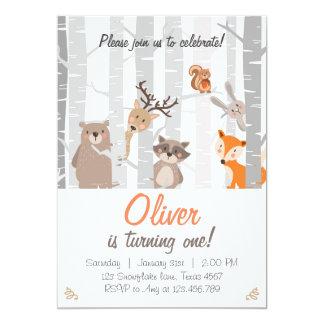 Premiers animaux de forêt d'invitation carton d'invitation  12,7 cm x 17,78 cm
