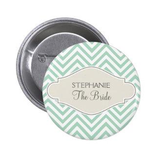 Preppy Naam Met monogram van de Streep van de Chev Ronde Button 5,7 Cm
