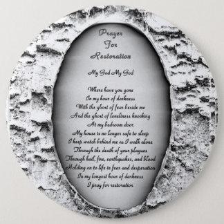 Prière pour la restauration badge rond 15,2 cm