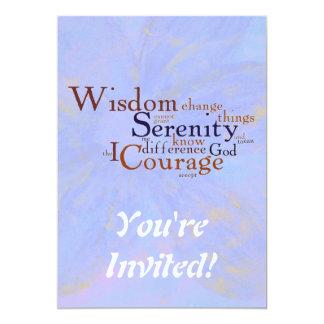 Prière Wordle de sérénité sur le résumé Carton D'invitation 12,7 Cm X 17,78 Cm