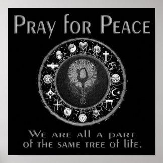 Priez pour la paix en noir et blanc