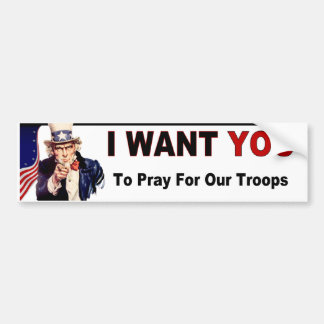 Priez pour nos troupes autocollant de voiture