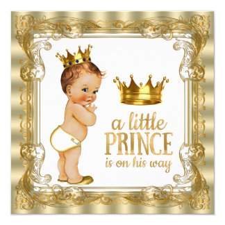 Prince baby shower carton d'invitation  13,33 cm