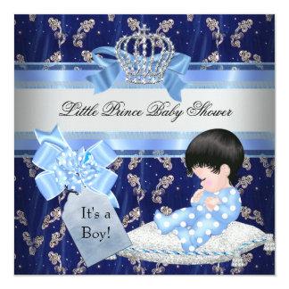 Prince bleu Crown de garçon élégant de baby shower Carton D'invitation 13,33 Cm
