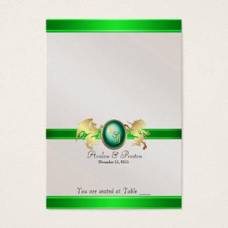Prince et princesse Green Jewel Table Placecard Cartes De Visite