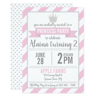 Princesse argentée rose Birthday Invitation de