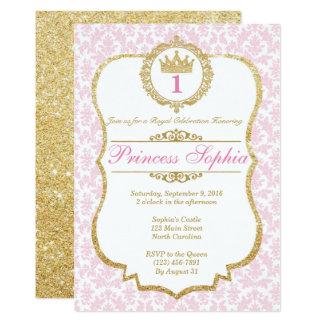 Princesse Birthday Invitation Pink et or