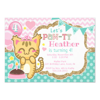 Princesse Birthday Patte-ty Invitation de Kitty de