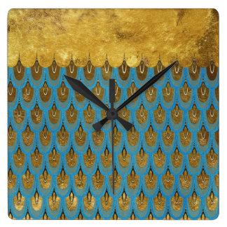 Princesse brillante Mermaid Glitter Scales d'or Horloge Carrée