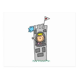 Princesse dans la tour de château carte postale