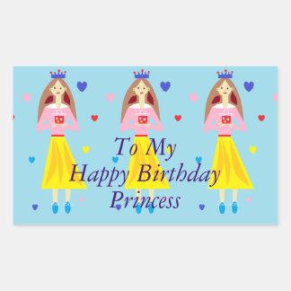 Princesse de joyeux anniversaire de princesse To Sticker Rectangulaire