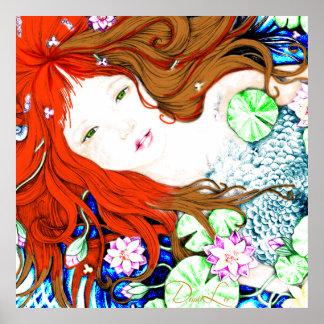 Princesse de sirène en affiche de style d'art de