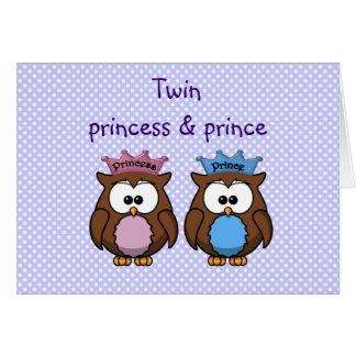 princesse et prince jumeaux de hibou carte de vœux