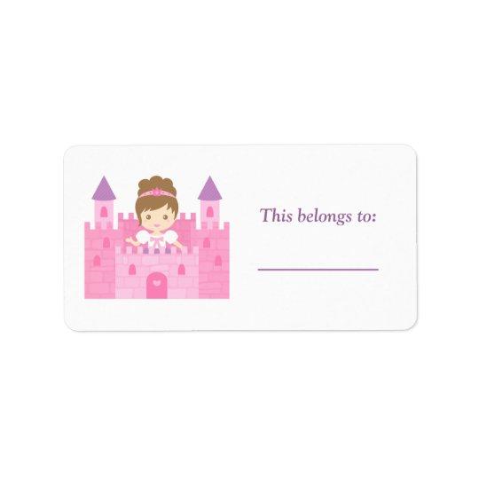 Princesse mignonne Girl dans le château rose Étiquettes D'adresse