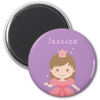Princesse mignonne, rose pour de petites filles magnet rond 8 cm