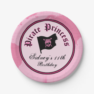 Princesse rose Party de pirate Assiettes En Papier