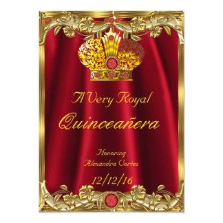 Princesse rouge royale Crown 2 d'or de gemme de Carton D'invitation 11,43 Cm X 15,87 Cm