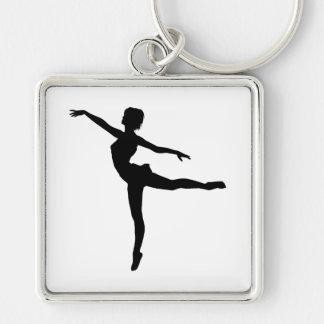 ~ PRIVÉ de DANSEUR (silhouette - danse moderne) Porte-clé Carré Argenté