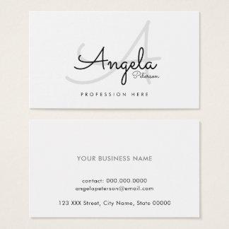 pro contact-carte simple blanche/monogramme cartes de visite