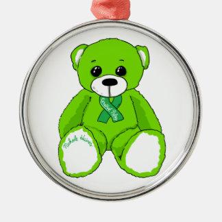 Produits d'ours de nounours de conscience ornement rond argenté