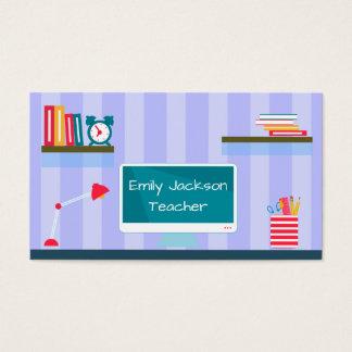 Professeur de rayures bleues cartes de visite
