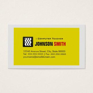 Professeur d'ordinateur - blanc jaune urbain cartes de visite