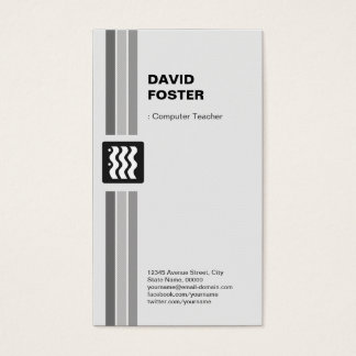 Professeur d'ordinateur - blanc noir moderne cartes de visite