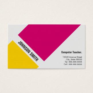 Professeur d'ordinateur - jaune rose simple cartes de visite