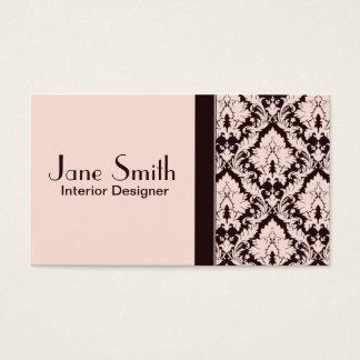 Professionnel floral de damassé chique élégante cartes de visite