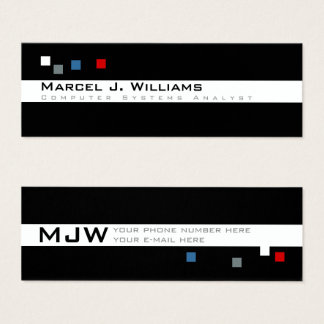 professionnel moderne de pixels frais de couleur mini carte de visite
